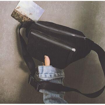 Женская бананка, сумка, черная П2252
