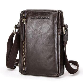 "Мужская сумка на плечо ""Contact'S"", коричневая П2254"