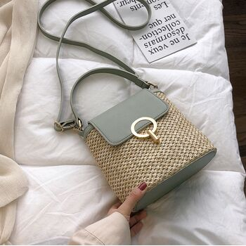 Женская соломенная сумка, зеленая П2291