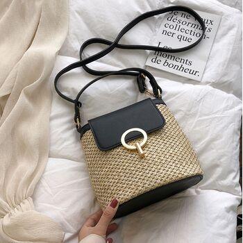 Женская соломенная сумка, черная 2293
