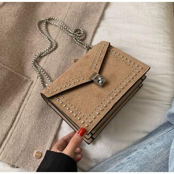 Женская сумка клатч, коричневая П2299