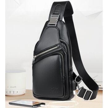 Мужская сумка слинг, черная 2354