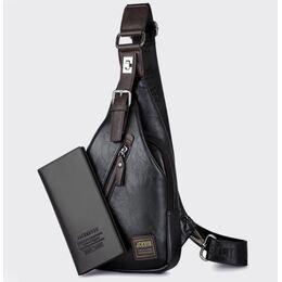 Мужская сумка слинг + портмоне, черная 2355