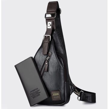 Мужская сумка слинг + портмоне, черная П2355
