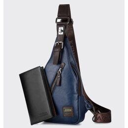Мужская сумка слинг + портмоне, синяя 2356