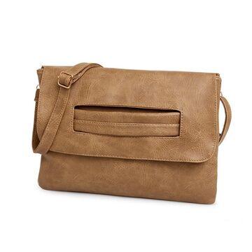 Женская сумка клатч, коричневая П2374