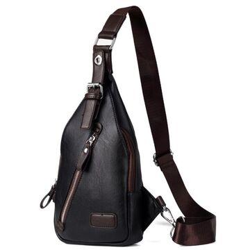 Мужская сумка слинг, черная П2408