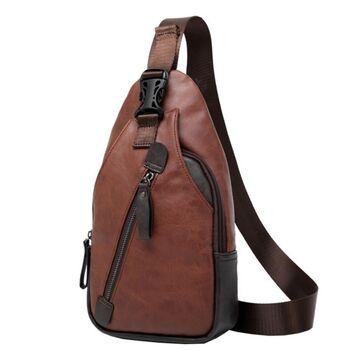 Мужская сумка слинг, коричневая П2409