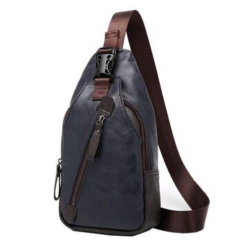 Мужская сумка слинг, синяя П2410