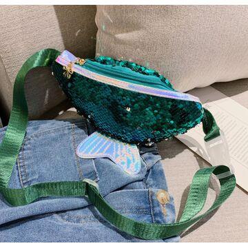 Детская сумка, бананка, зеленая П2478