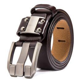Мужской ремень BISON DENIM, коричневый 2477