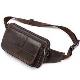 "Мужская сумка поясная ""WESTAL"" , бананка, коричневая 2570"