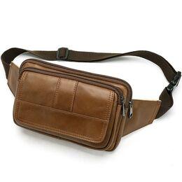 "Мужская сумка поясная ""WESTAL"" , бананка, коричневая 2571"