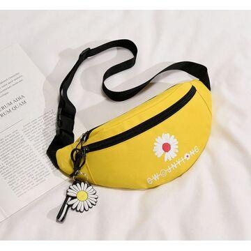 Женская сумка, бананка с ромашкой, П2598
