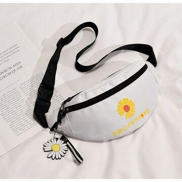 Женская сумка, бананка с ромашкой, П2599