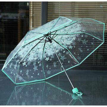 Зонтик прозрачный, зеленый П2776