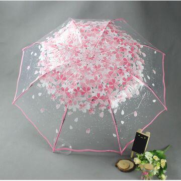 Зонтик прозрачный, розовый П2777
