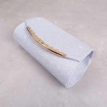 Женская сумочка клатч, серебристая П2779