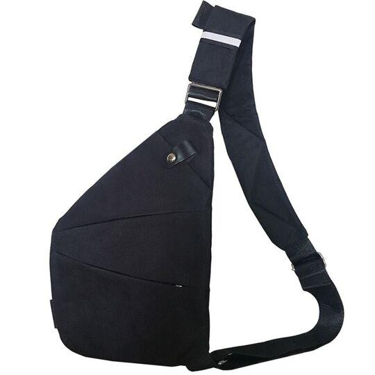 Мужские сумки - Мужская сумка слинг на плечо, черная П2786