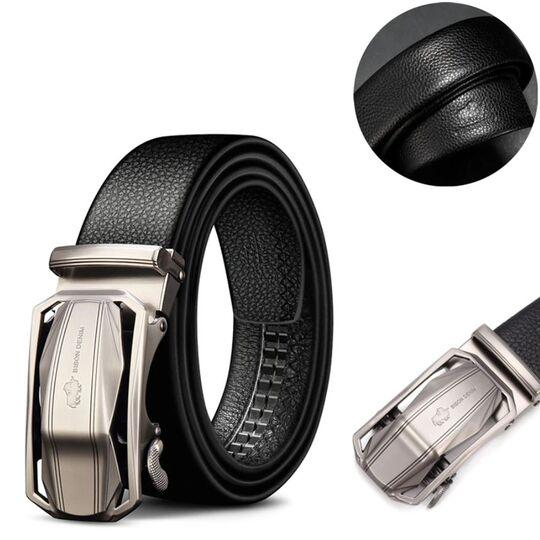 Мужские ремни и пояса - Мужской ремень BISON DENIM, черный П2830