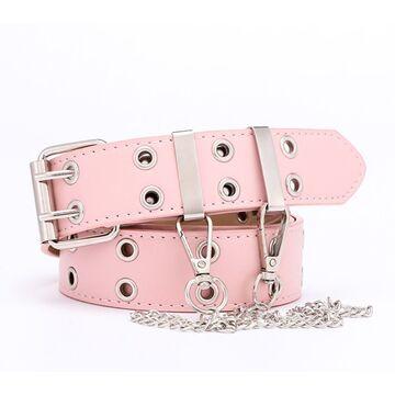 Ремень женский, розовый  П2881 с цепочкой