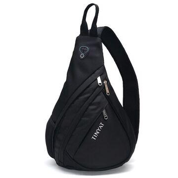 """Мужская сумка слинг """"TINYAT"""", черная П2950"""