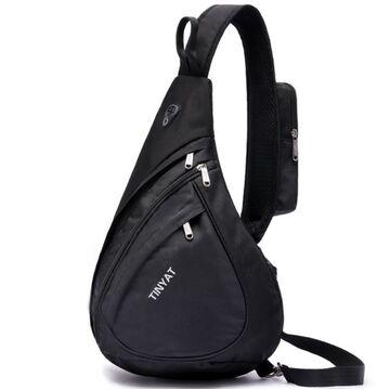 """Мужская сумка слинг """"TINYAT"""", черная П2951"""