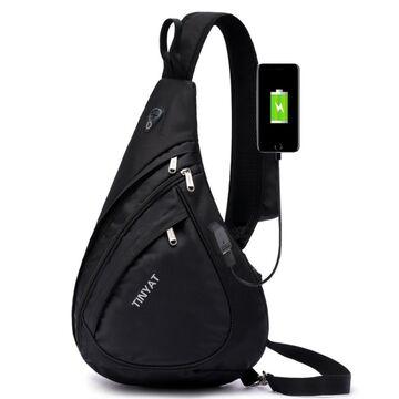 """Мужская сумка слинг """"TINYAT"""" USB, черная П2952"""