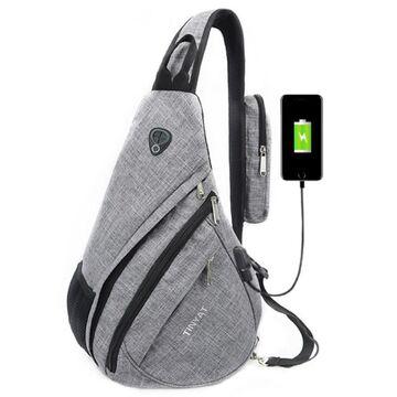 """Мужская сумка слинг """"TINYAT"""" USB, серая П2953"""