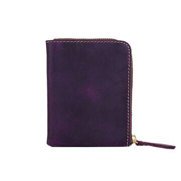 Кошелек на молнии из кожи,  фиолетовый П3007