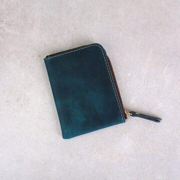 Кошелек на молнии из кожи,  синий П3010