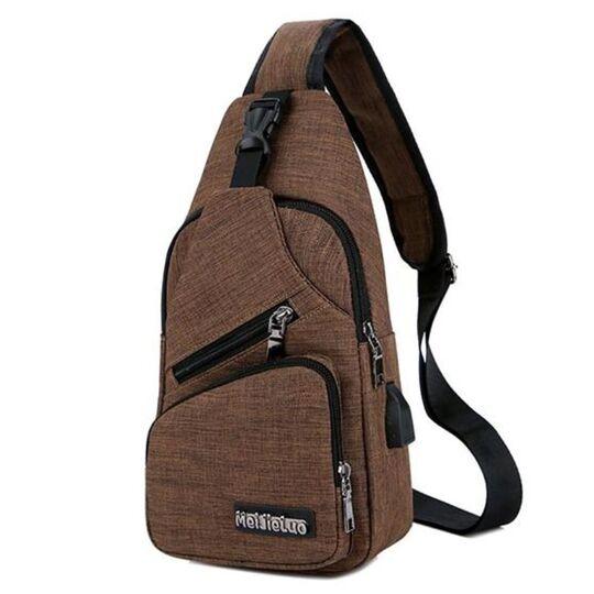Мужская сумка слинг, коричневая П3030