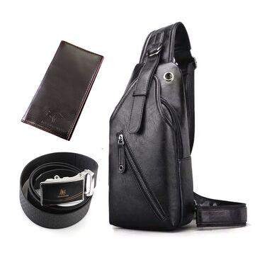 Мужская сумка+кошелек+ремень, черная П3038
