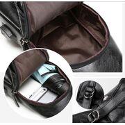 Мужская сумка+кошелек+ремень USB, черная П3040