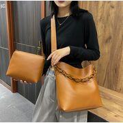Женская сумка+косметичка, коричневая П3058