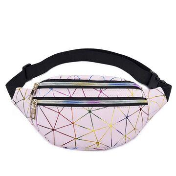 Женская поясная сумка, бананка, розовая П3090