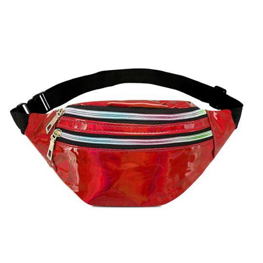 Женская поясная сумка, бананка, красный П3093
