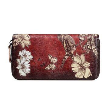 Женский кожаный кошелек, красный П3130