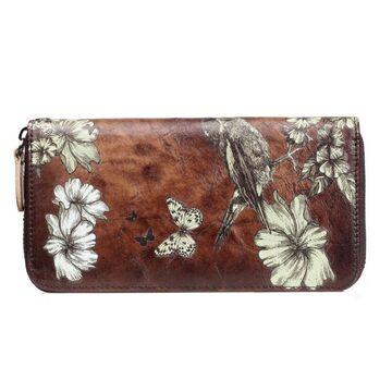 Женский кожаный кошелек, коричневый П3131