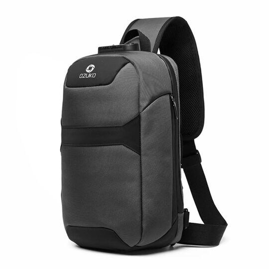 Мужская сумка слинг OZUKO, серая П3196