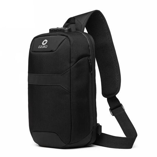 Мужская сумка слинг OZUKO, черная П3199