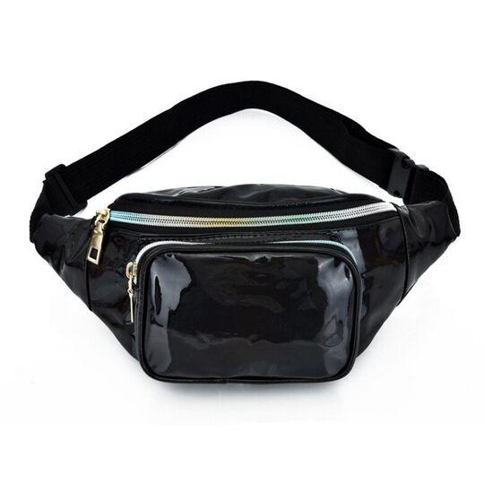 Женская поясная сумка, бананка, черная П3292