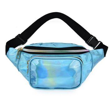 Женская поясная сумка, бананка, голубая П3293