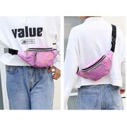 Женская поясная сумка, бананка, розовая П3295