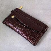 Женский кошелек лакированный, коричневый П3353