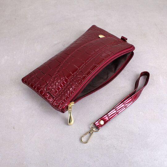 Женский кошелек лакированный, красный П3354