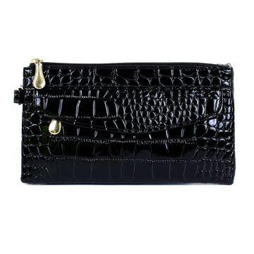 Женский кошелек лакированный, черный П3355