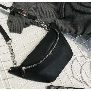 """Жіноча сумка, бананка """"FUNMARDI"""", чорна П3365"""