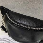 """Женская сумка, бананка """"FUNMARDI"""", черная П3365"""