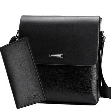 """Мужская сумка """"VORMOR"""", черная, с кошельком, П3792"""